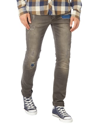 Jack & Jones Slim Fit Jeans im Destroyed Look Dunkelgrau - 1