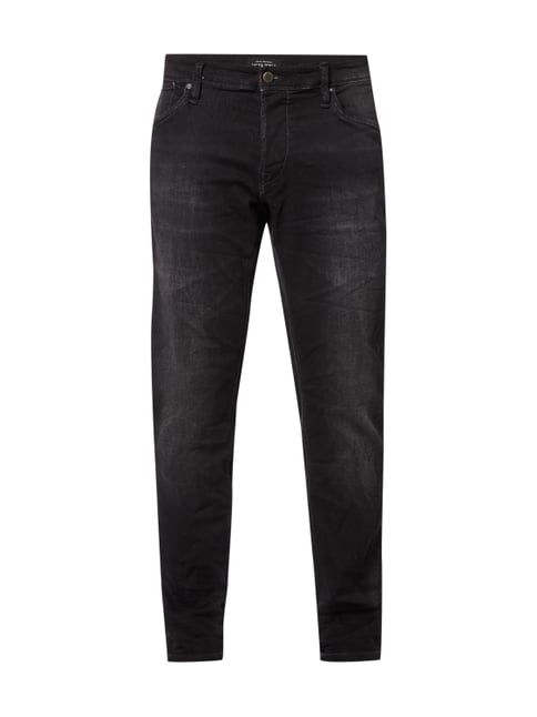 Stone Washed Comfort Fit Jeans aus Sweatdenim Grau / Schwarz - 1