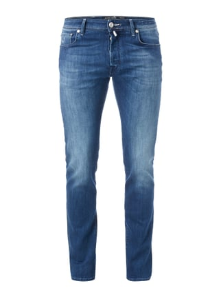Regular Fit Stone Washed Jeans mit Knopfleiste Blau / Türkis - 1