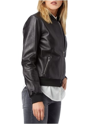 Jake*s Collection Bomber aus echtem Leder Schwarz - 1