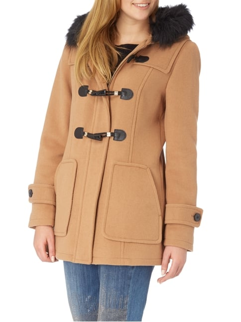 Jake*s Collection Dufflecoat mit Webpelzbesatz Camel - 1