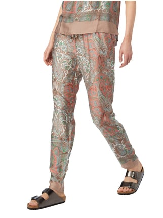 Jake*s Collection Easypants mit ornamentalem Muster Taupe - 1