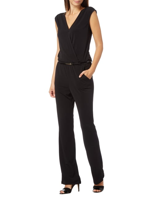 Jake*s Collection Jumpsuit mit Taillengürtel in Grau / Schwarz - 1