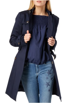 Jake*s Collection Trenchcoat mit Taillengürtel Marineblau - 1