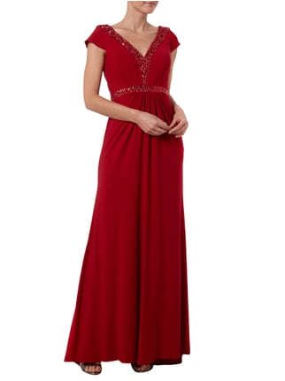 Jora Collection Abendkleid mit Taillenpasse und Raffungen in Rot - 1