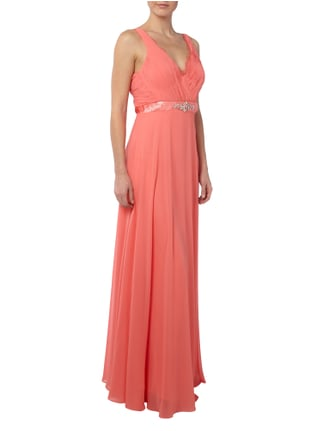 Jora Collection Abendkleid mit Ziersteinbesatz und Stola in Orange - 1
