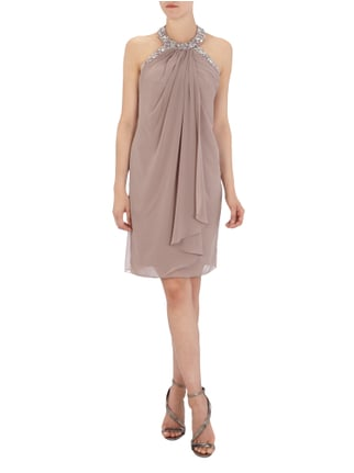 Jora Collection Cocktailkleid mit Collierkragen und Ziersteinen in Rosé - 1