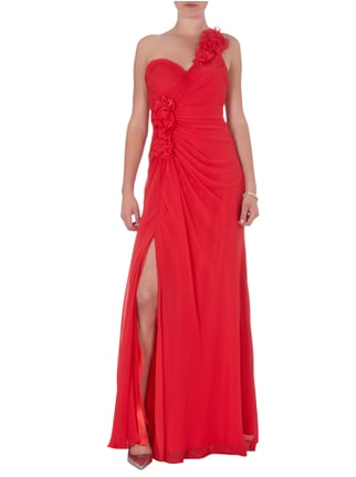 Jora Collection One-Shoulder-Abendkleid mit Blüten-Applikationen in Rot - 1