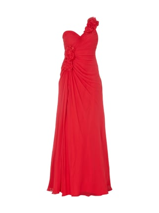 One-Shoulder-Abendkleid mit Blüten-Applikationen Rot - 1