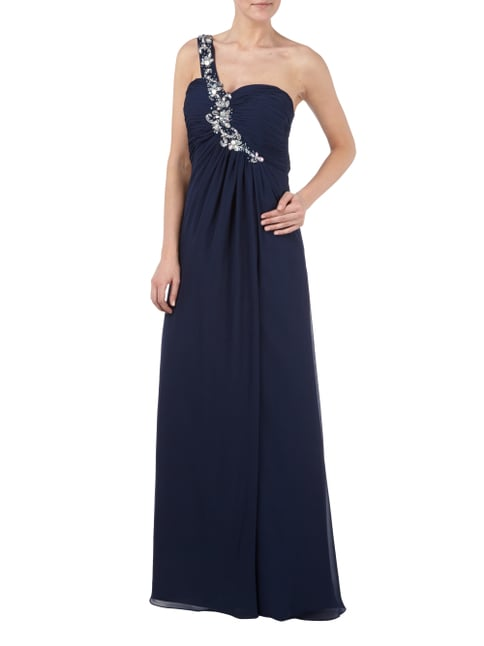 Jora Collection One-Shoulder-Abendkleid mit Ziersteinbesatz in Blau / Türkis - 1