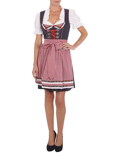 krueger dirndl dirndl mit sch rze und zierkette in rot. Black Bedroom Furniture Sets. Home Design Ideas