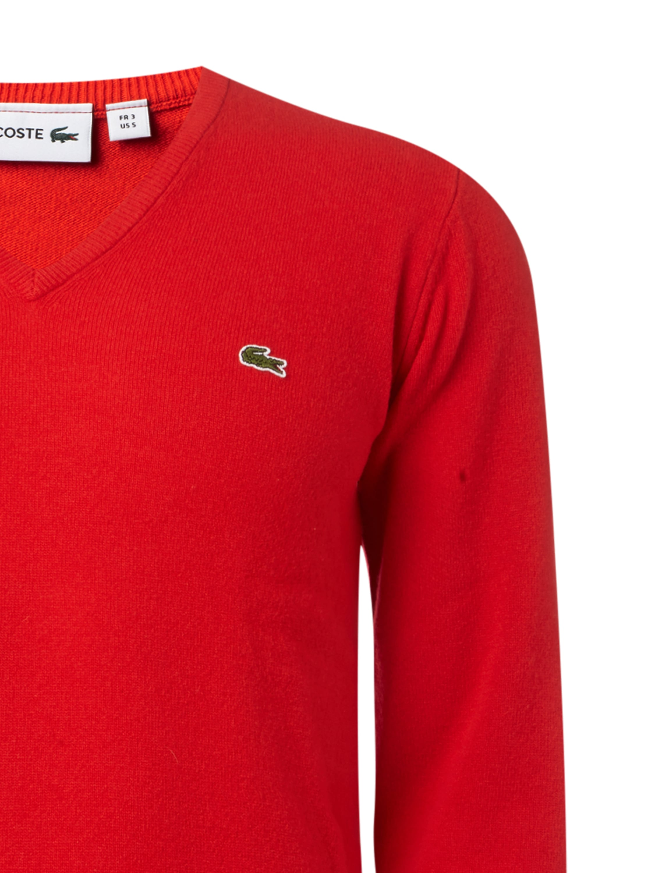 lacoste pullover aus schurwolle mit v ausschnitt in rot online kaufen 9531302 p c online shop. Black Bedroom Furniture Sets. Home Design Ideas