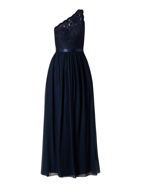 One-Shoulder-Abendkleid mit floralen Stickereien Blau / Türkis - 1