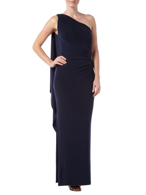 Lauren Ralph Lauren One-Shoulder-Abendkleid mit Gehschlitz in Blau / Türkis - 1