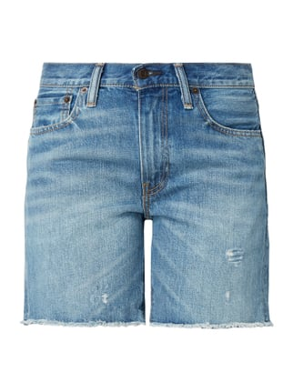 Straight Fit Jeansbermudas im Used Look Blau / Türkis - 1
