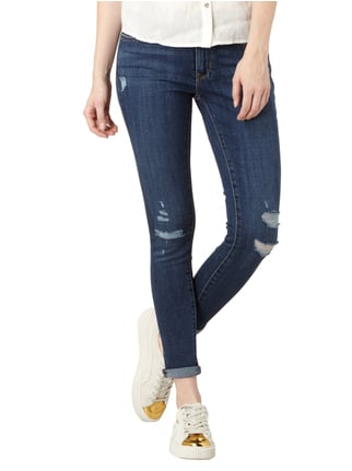 Levi's® Skinny Fit Jeans im Destroyed Look Dunkelblau meliert - 1