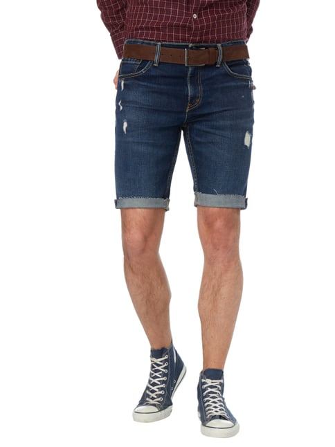 Levi's® Slim Fit Jeansbermudas im Destroyed Look Dunkelblau - 1