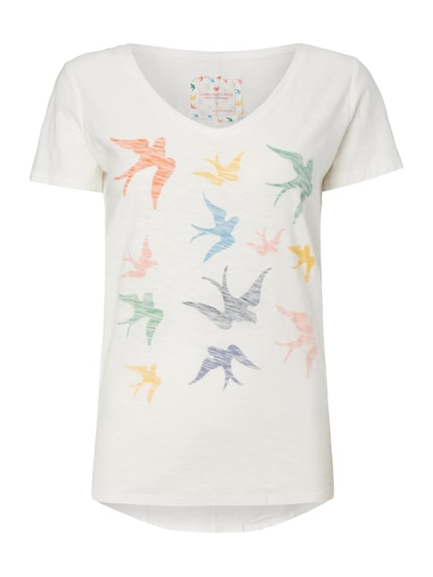 T-Shirt mit Vogel-Print im Inside-Out-Look Weiß - 1