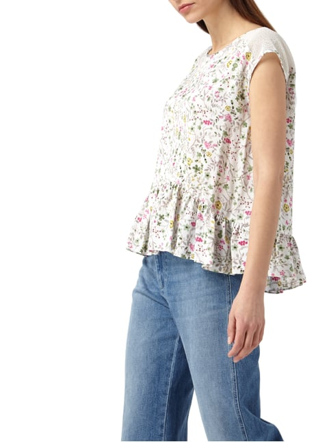 Liu Jo Jeans Blusentop mit floralem Muster Offwhite - 1