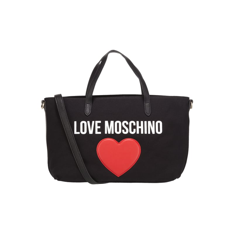 love moschino handtasche aus textil mit logo print the fashion victim. Black Bedroom Furniture Sets. Home Design Ideas