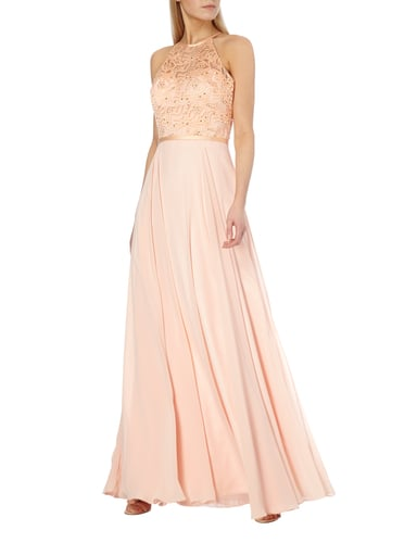 Luxuar Abendkleid mit Ziersteinbesatz in Orange - 1