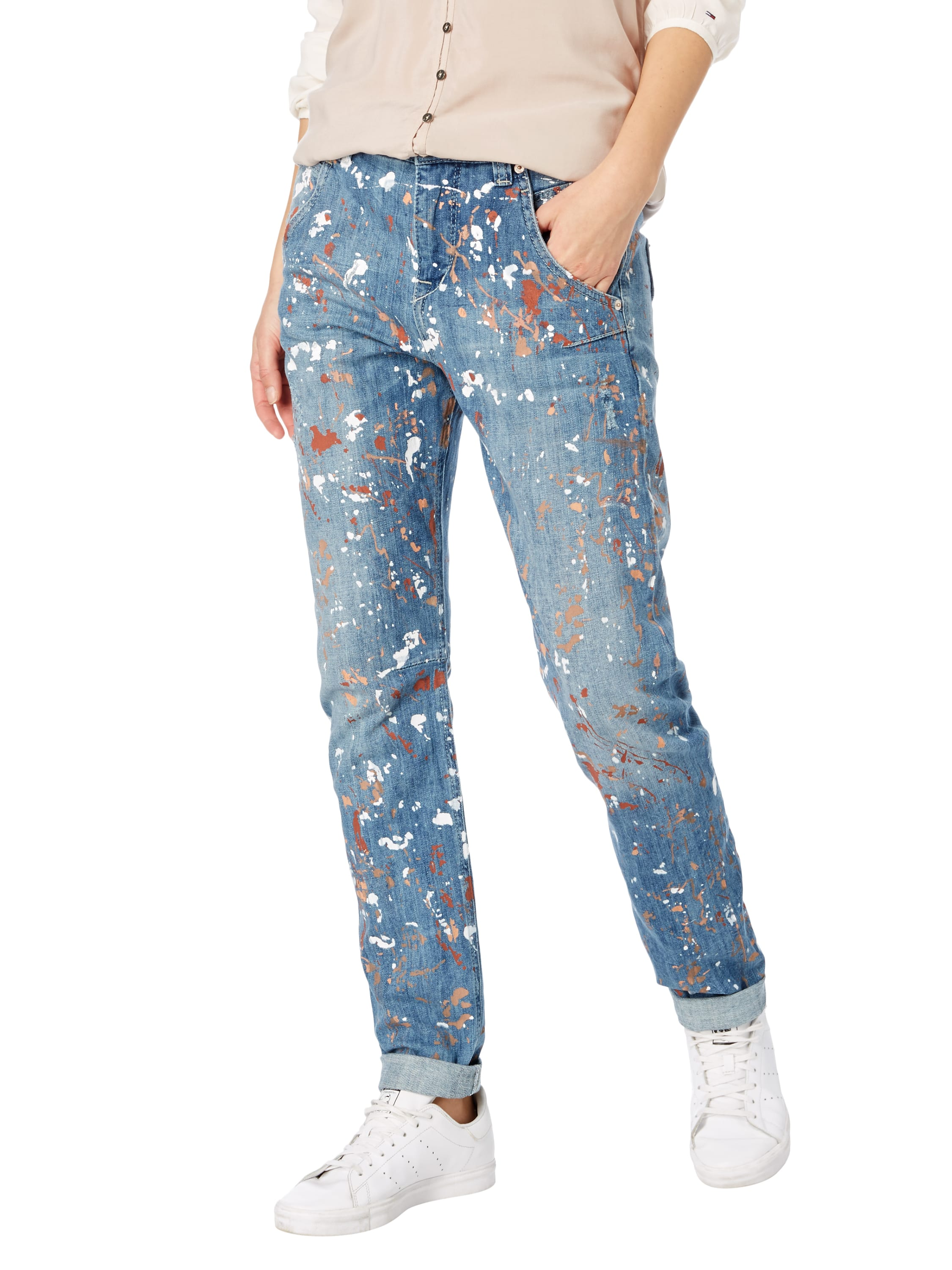mac boyfriend fit jeans mit farbklecksen in blau t rkis online kaufen 9601031 p c online shop. Black Bedroom Furniture Sets. Home Design Ideas