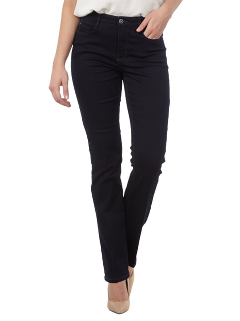 MAC One Washed Jeans im Flared Cut Dunkelblau meliert - 1