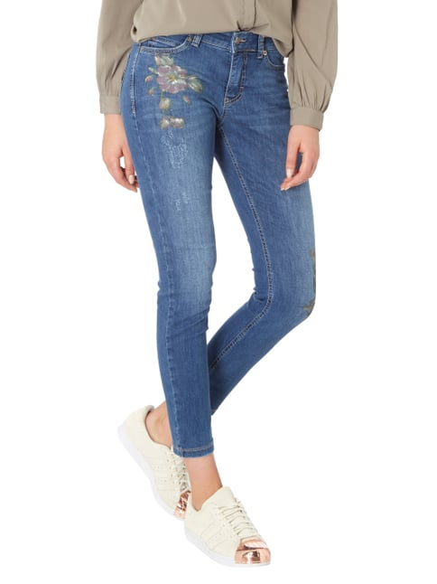 MAC Skinny Fit Jeans im Used Look Blau - 1