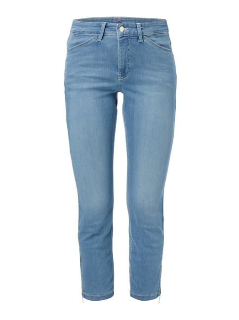 Stone Washed Slim Fit Jeans in 7/8-Länge Blau / Türkis - 1
