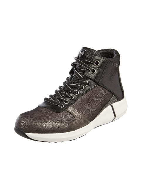 High Top Sneaker in Snake-Optik Grau / Schwarz - 1