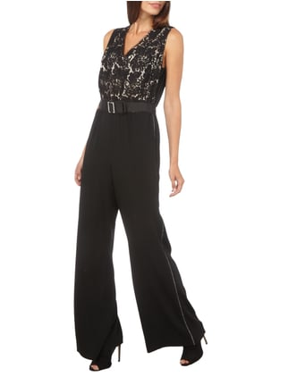 Marc Cain Collections Jumpsuit mit Spitzenoberteil in Grau / Schwarz - 1