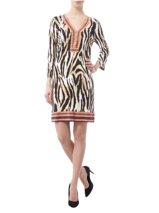 Marc Cain Collections Kleid mit Tiger- und Ethnomuster in Braun - 1