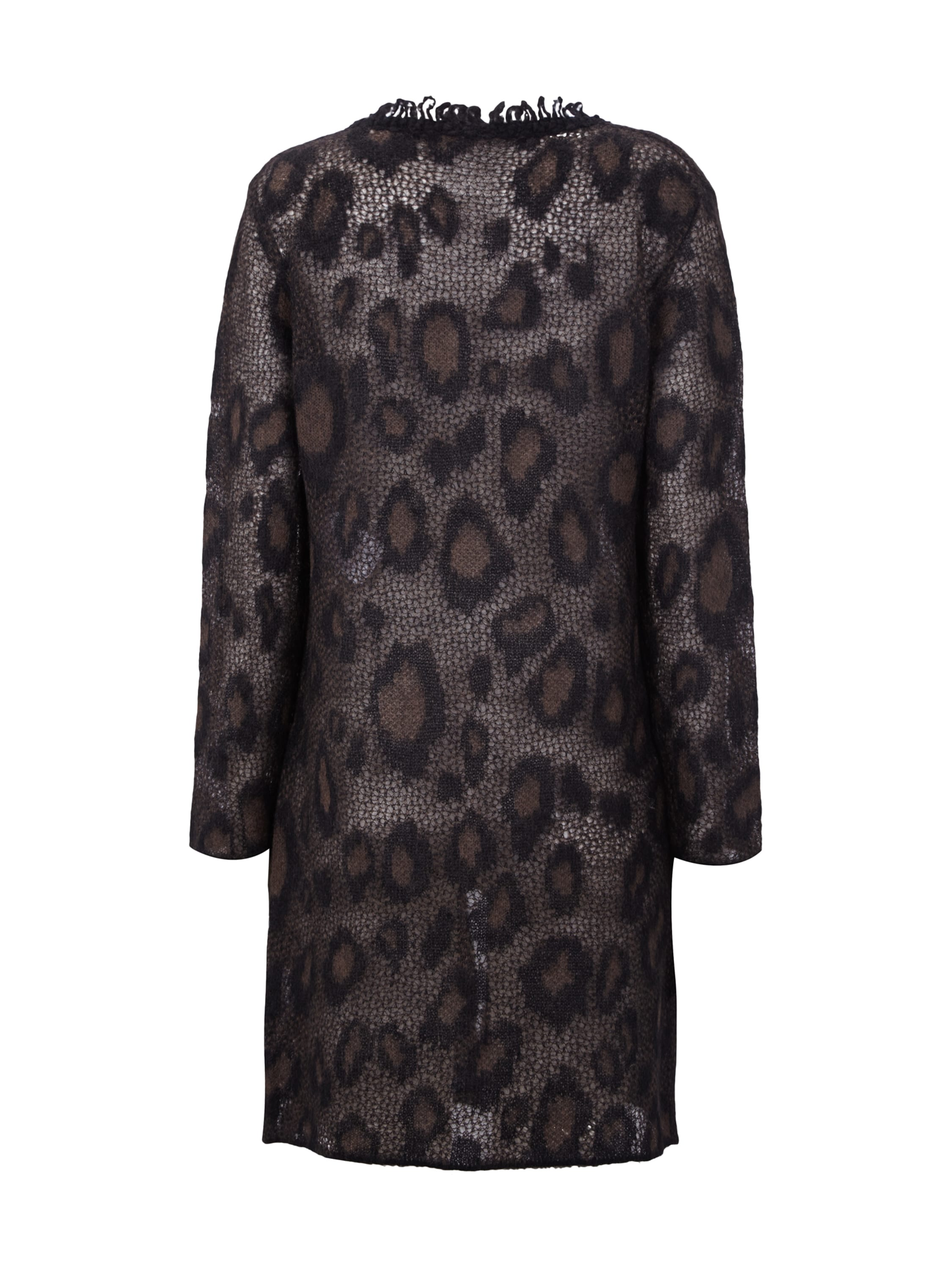 marc cain collections long cardigan mit leopardenmuster in braun online kaufen 9283381 p c. Black Bedroom Furniture Sets. Home Design Ideas