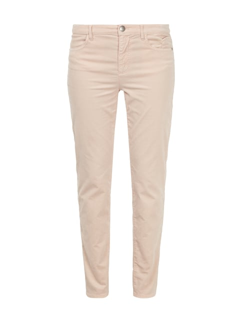 Slim Fit Samthose mit Label-Patch Rosé - 1