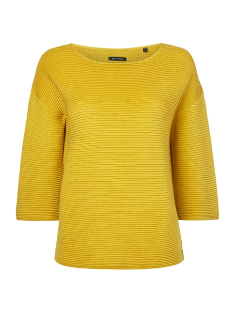 Boxy Fit Pullover im Rippenstrick Gelb - 1