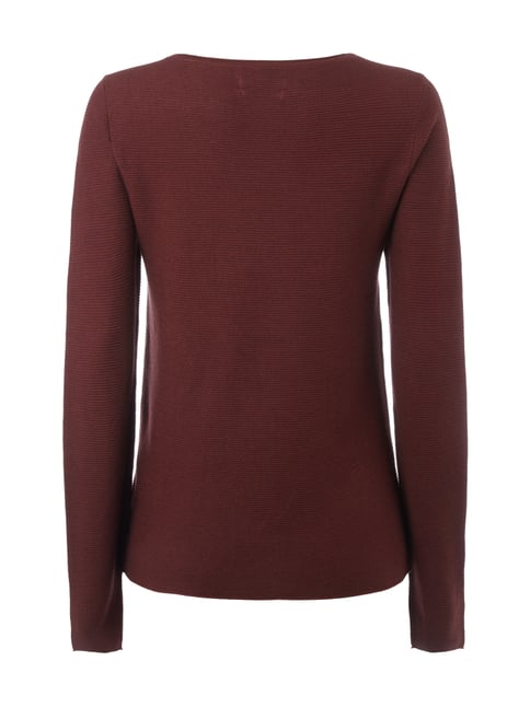 Marc O'Polo Pullover mit Rippenstruktur Bordeaux Rot - 1
