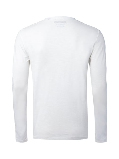 Marc O'Polo Shaped Fit Serafino-Shirt aus Slub Jersey Offwhite - 1