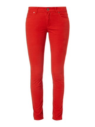 Slim Fit 5-Pocket-Hose mit Velvet Cotton Finish Rot - 1