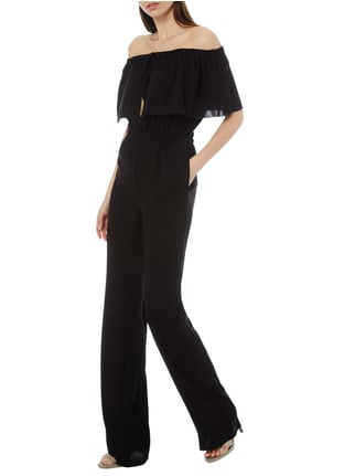 Max Mara Studio Off Shoulder Jumpsuit mit Zierquasten in Grau / Schwarz - 1