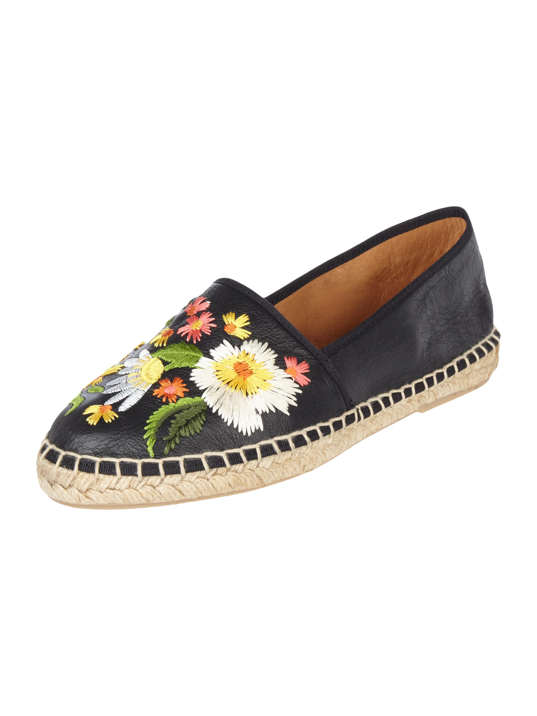 maypol espadrilles aus leder mit floralen stickereien in. Black Bedroom Furniture Sets. Home Design Ideas