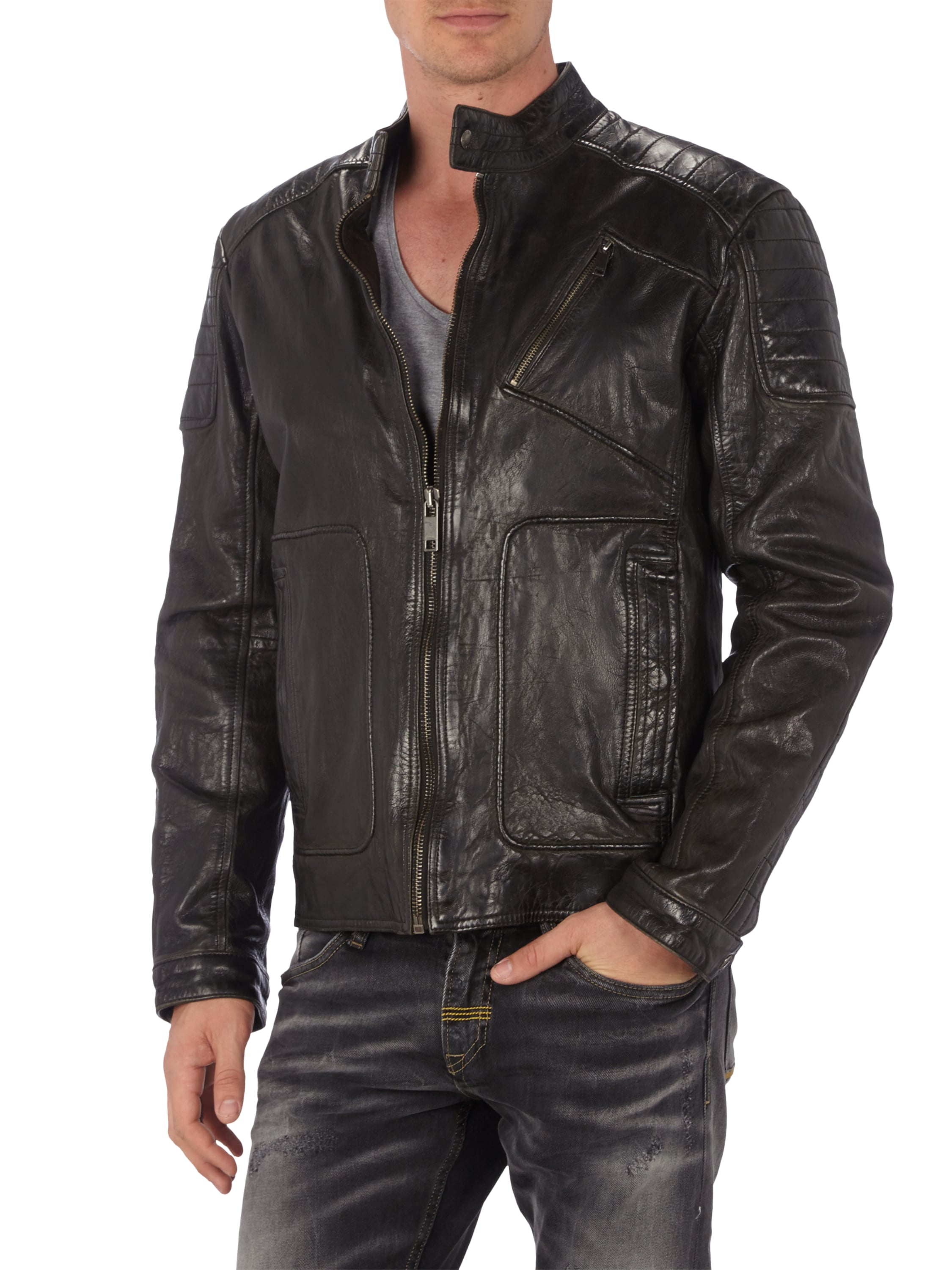 mcneal lederjacke im biker look in grau schwarz online. Black Bedroom Furniture Sets. Home Design Ideas