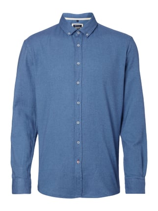 Regular Fit Flanellhemd mit Button-Down-Kragen Blau / Türkis - 1