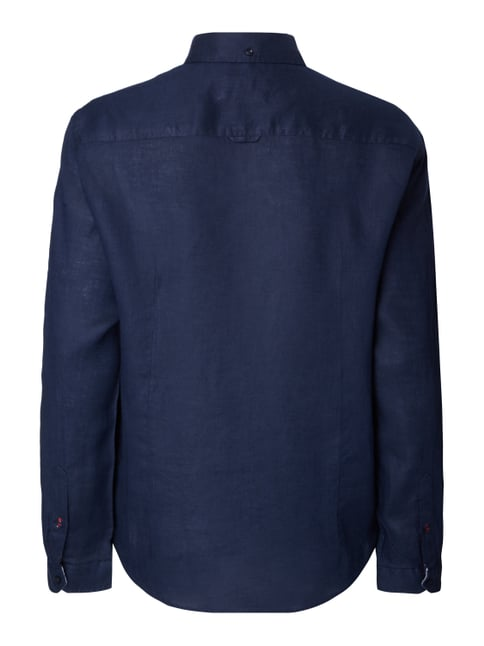 MCNEAL Tailored Fit Freizeithemd aus reinem Leinen Marineblau - 1
