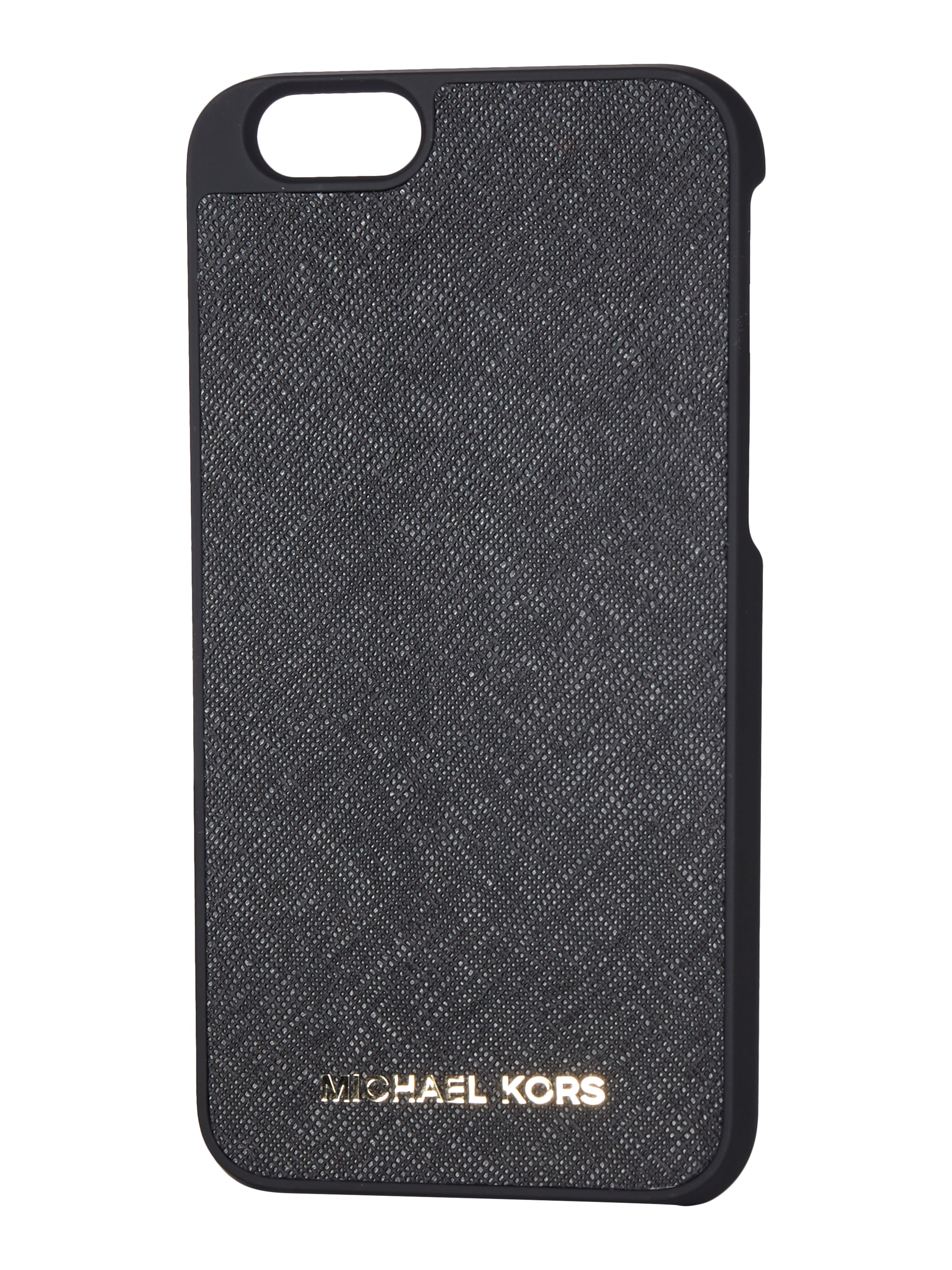 michael michael kors iphone 6 case aus saffianoleder in grau schwarz online kaufen 9560555. Black Bedroom Furniture Sets. Home Design Ideas