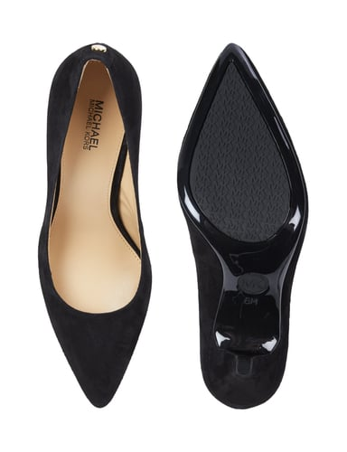 michael michael kors pumps aus veloursleder mit pfennigabsatz in grau. Black Bedroom Furniture Sets. Home Design Ideas