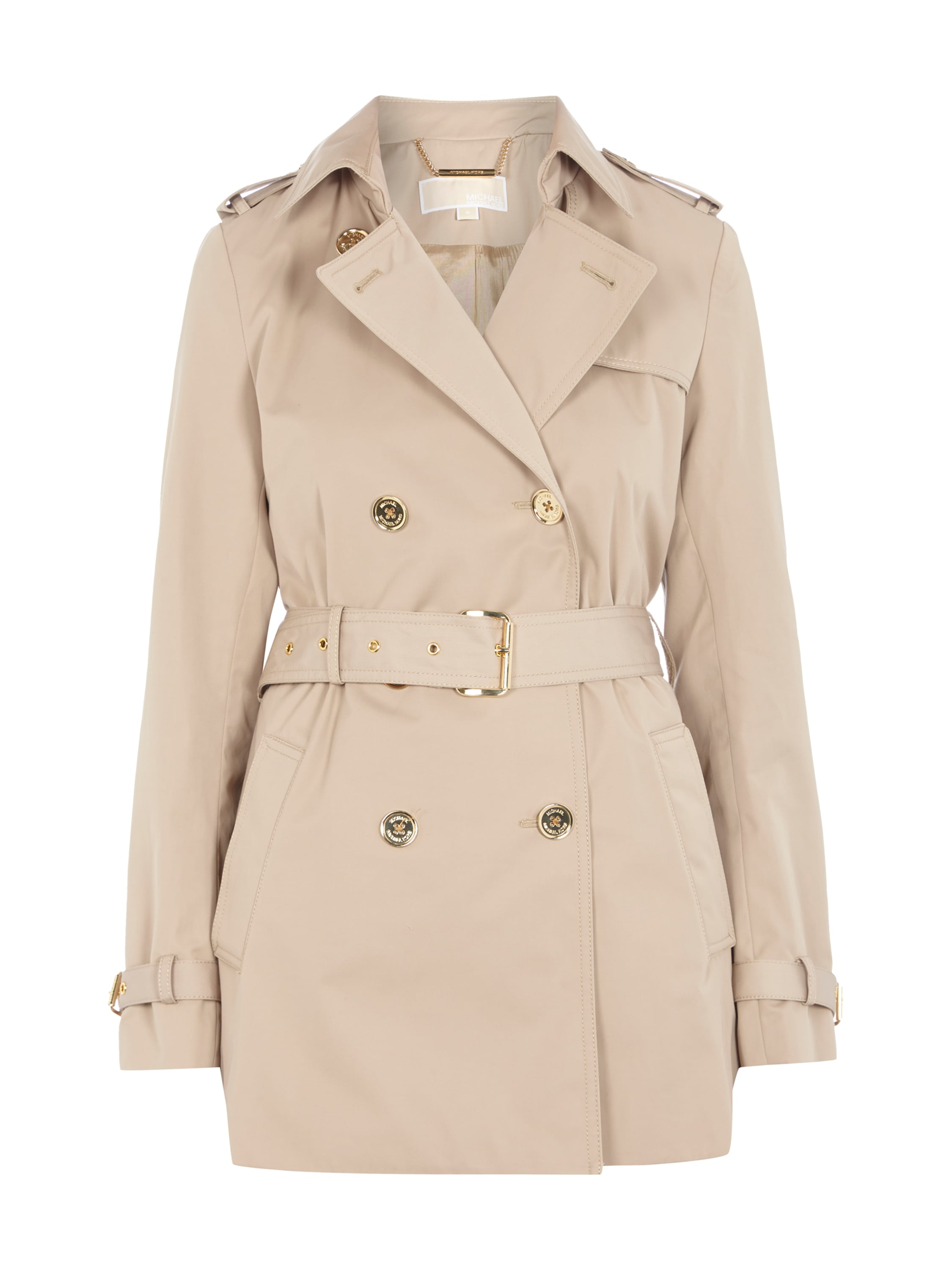 michael kors trenchcoat mit goldenen kn pfen in wei. Black Bedroom Furniture Sets. Home Design Ideas