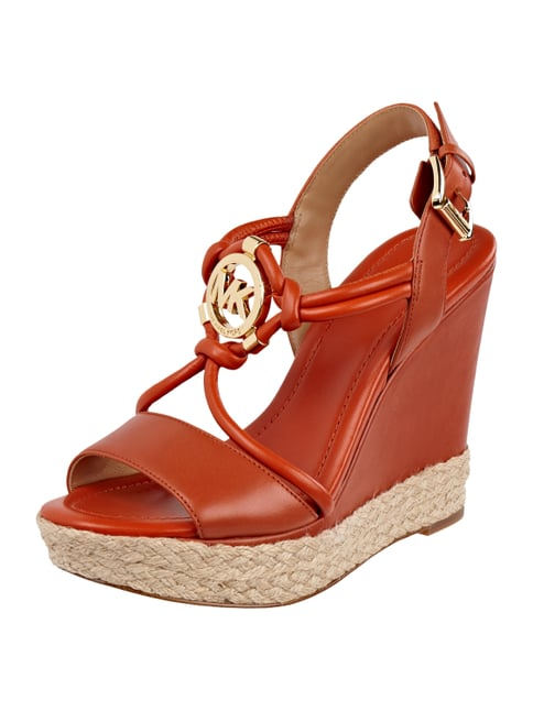 Wedges aus echtem Leder Orange - 1