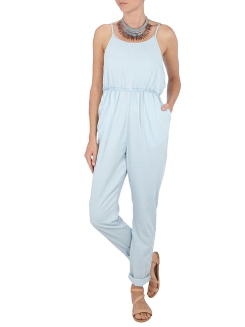 Minkpink Jumpsuit mit tiefen Armlöchern in Wickel-Optik in Blau / Türkis - 1