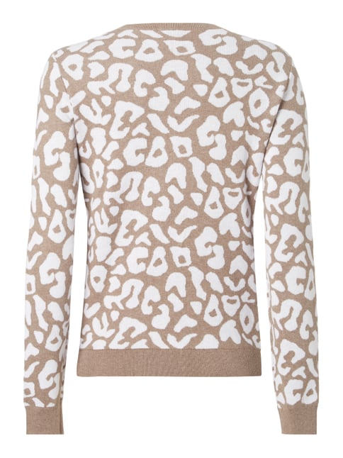 Montego Pullover mit Leopardenmuster Taupe meliert - 1