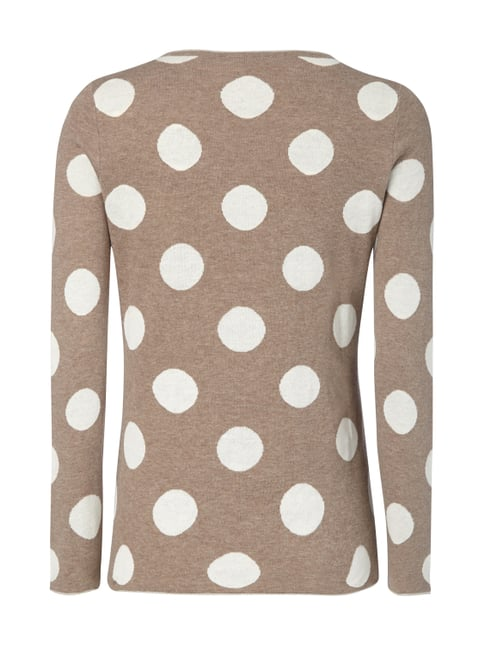 Montego Pullover mit Punktemuster Taupe meliert - 1